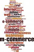 Mobile commerce word cloud concept. Vector illustration poster