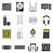 Laptop and computer with components and accessories and electronic devices flat icons set isolated vector illustration poster