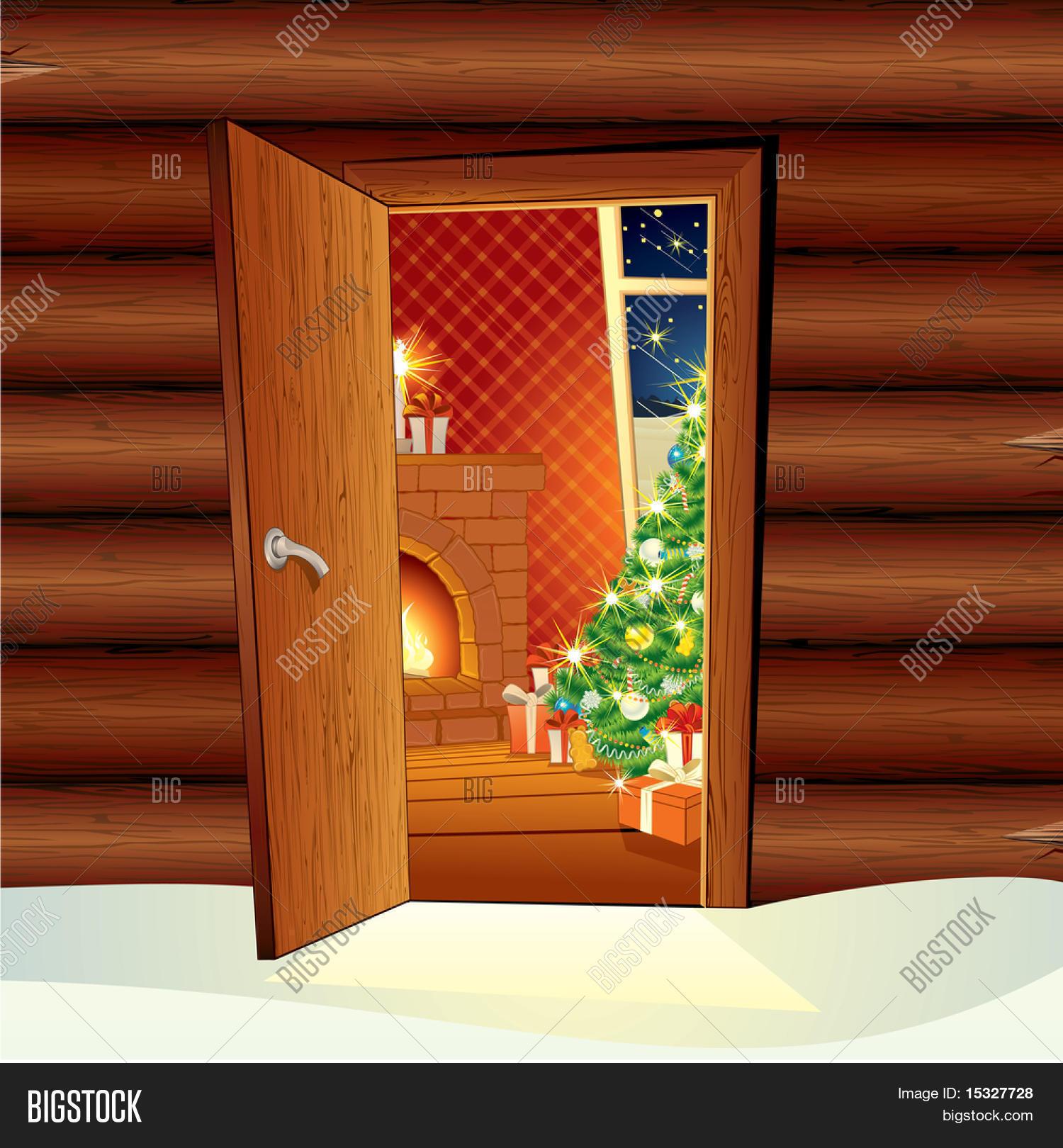 Image de dessin animé de vector illustration of festive intérieur maison de porte ouverte