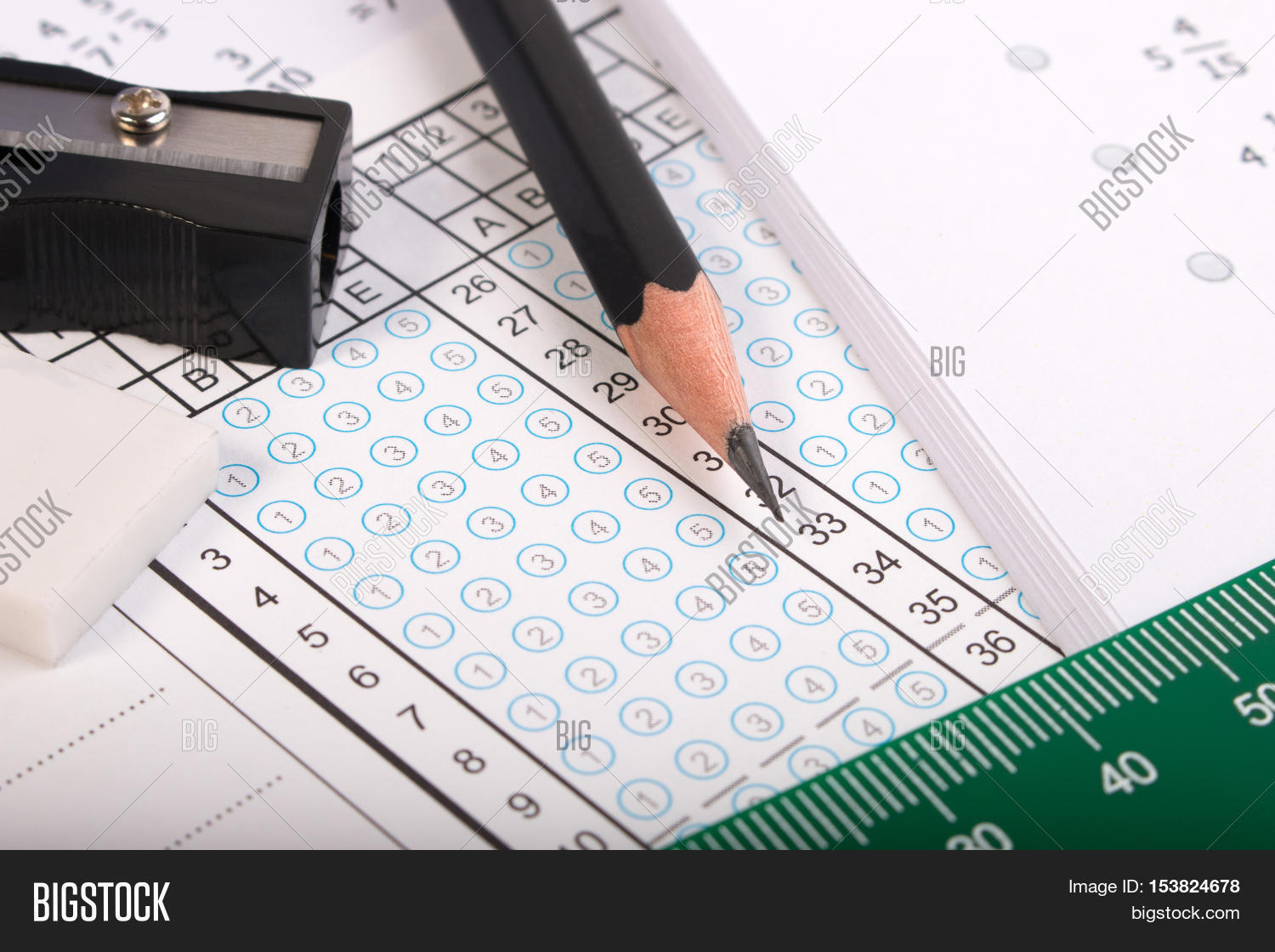Blank Answer Sheet With 2B Pencil For Testing Standard School Exam