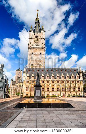 Gent Belgium. Skyline of Ghent in West Flanders Belgium with Belfort tower and St. Nicholas Church.
