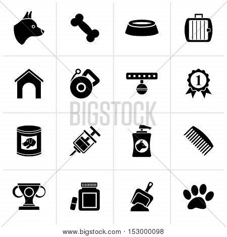 Black Dog and Cynology object icons - vector icon set