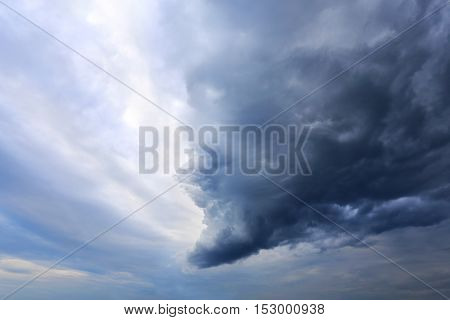 big dark storm cloud in the sky photographed in close-up