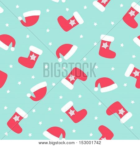Christmas pattern with xmas socks, stars and Santa hats. Happy New Year and Merry Xmas seamless background. Vector design for winter holidays. Winter holidays vector texture. Merry Xmas card.