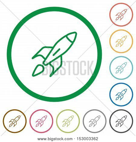 Launched rocket flat color icons in round outlines