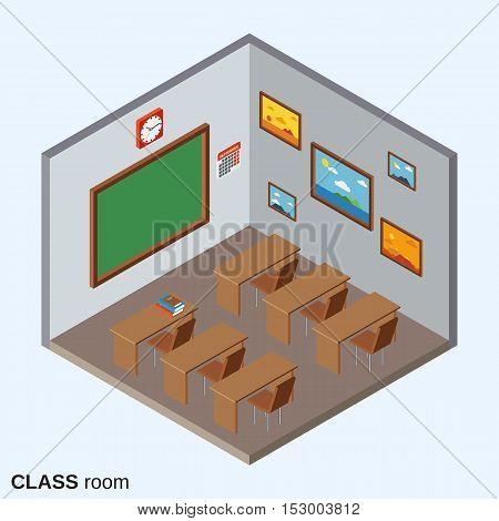Class room flat 3d isometric vector illustration