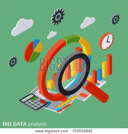 Big data analysis, business analytics, financial statistics flat isometric vector concept illustration