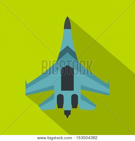 Jet fighter plane icon. Flat illustration of jet fighter plane vector icon for web isolated on lime background