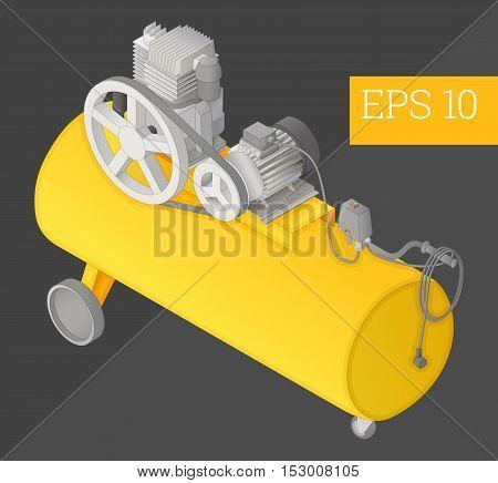 Air Compressor Isometric Vector Illustration