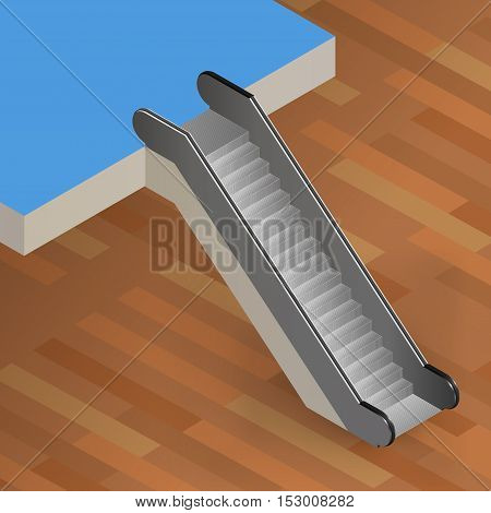 Escalator Stairway Isometric Vector Illustration