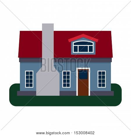 House front view vector illustration. House flat style modern constructions vector . House front facade building architecture home construction, urban house building s apartment front view