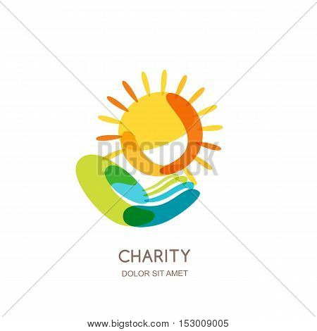 Charity Vector Logo Design Template. Abstract Colorful Sun On Human Hand.