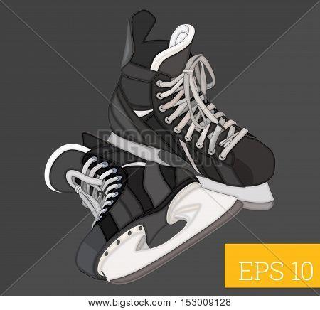hockey skates eps10 vector illustration. ice hockey boots pair