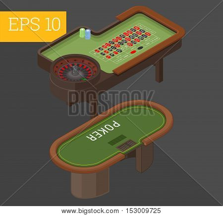 gambling tables eps10 vector illustration. poker and roulette
