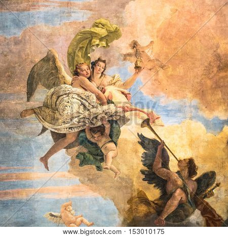 Vicenza Italy - May 13 2015: Detail of the fresco