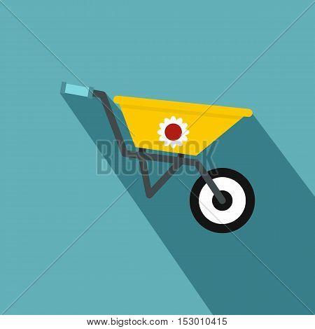 Yellow wheelbarrow icon. Flat illustration of yellow wheelbarrow vector icon for web isolated on light blue background