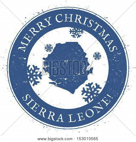 Sierra Leone Map. Vintage Merry Christmas Sierra Leone Stamp. Stylised Rubber Stamp With County Map