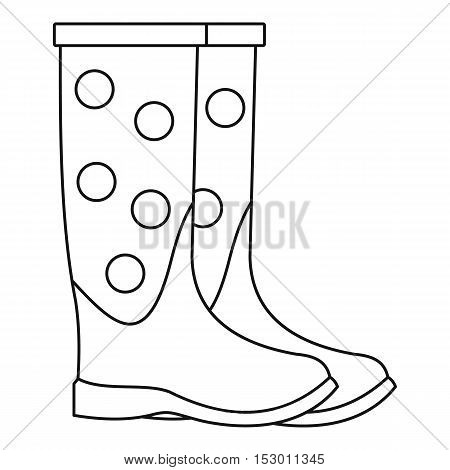 Dotted rubber boots icon. Outline illustration of dotted rubber boots vector icon for web