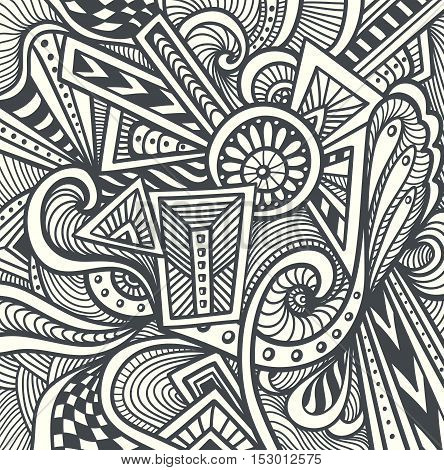 Abstract pattern  in  Zen tangle or Zen doodle style  in black white for relax coloring page or adult coloring books or  for wallpaper or  for packed something or for clothes