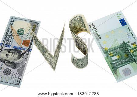 Dollar vs euro hundred dollars banknote vs hundred euro banknote