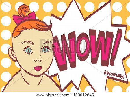 Wow Pop art vector poster with child. Eps 10 on layers for you need.