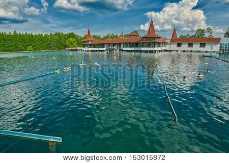 HEVIZ, HUNGARY - 15 August 2016: Heviz Thermal Lake Pools Resort with Hot Water in Hungary