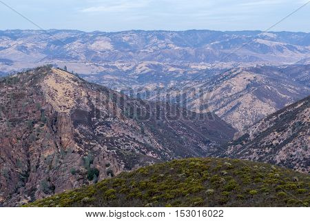 San Benito Wilderness from Chalone Peak Trail, Pinnacles National park, California, USA.
