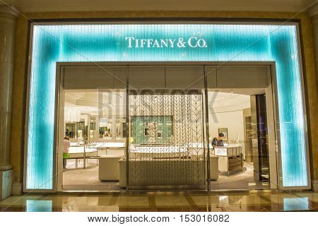 LAS VEGAS - OCT 05 : Exterior of an Tiffany's store in Las Vegas on October 05 2016. Tiffany's is an American multinational luxury jewelry retailer.