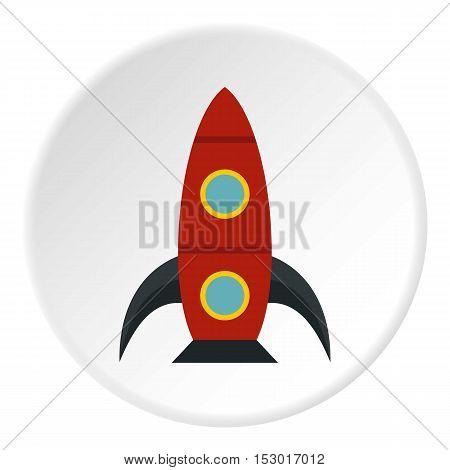 Rocket with portholes icon. Flat illustration of rocket with portholes vector icon for web