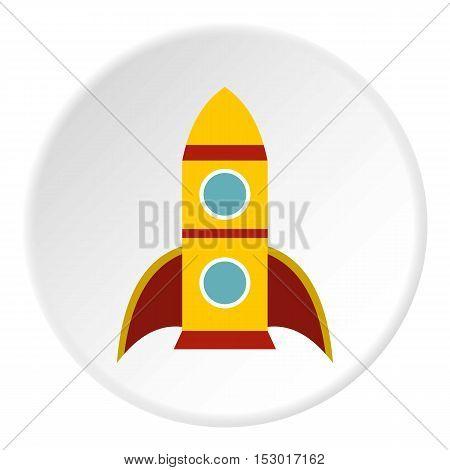 Rocket with two portholes icon. Flat illustration of rocket with two portholes vector icon for web