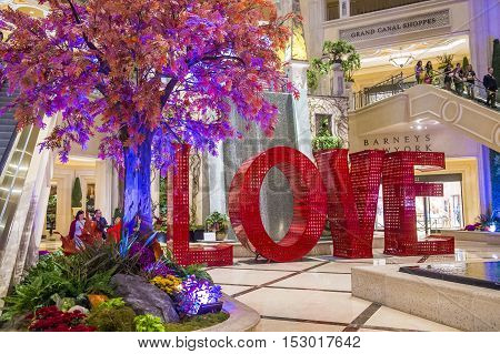 LAS VEGAS - OCT 05 : The LOVE installation at the Venetian Hotel in Las Vegas on October 05 2016. The installation created by the artist Laura Kimpton