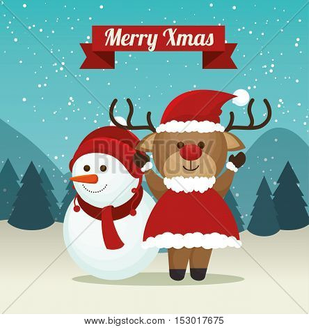 cute reindeer snowman suit santa landscape background merry xmas label vector illustration