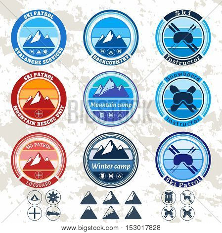 retro vintage set of badges and labels on the theme of mountains, ski patrol, ski resort, ski and snowboard instructor. Vector badges, labels, icons, stickers set.