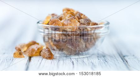 Wooden Table With Brown Rock Candy