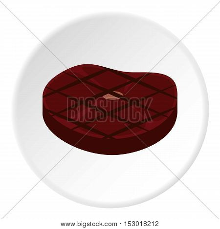 Steak fried on grill icon. Flat illustration of steak fried on grill vector icon for web