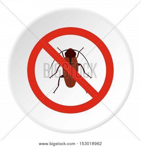Prohibition sign bugs icon. Flat illustration of prohibition sign bugs vector icon for web