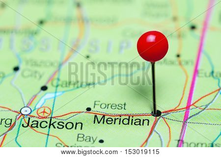 Meridian pinned on a map of Mississippi, USA