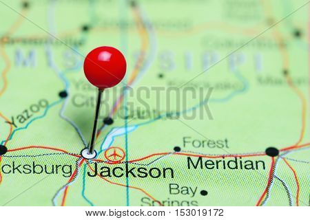 Jackson pinned on a map of Mississippi, USA