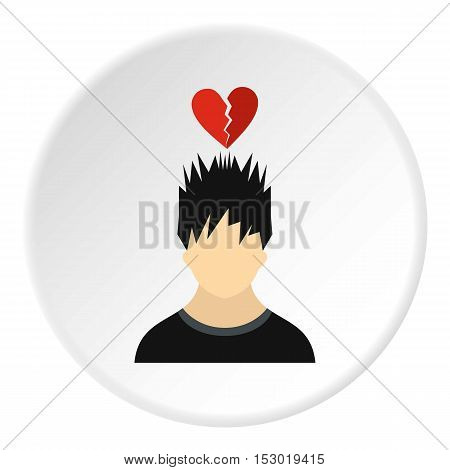 Male avatar and broken heart icon. Flat illustration of male avatar and broken heart vector icon for web