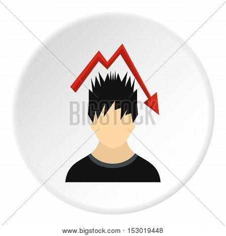 Male avatar and arrow down icon. Flat illustration of male avatar and arrow down vector icon for web