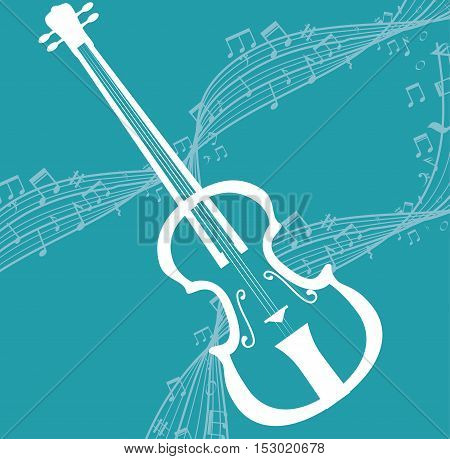 white fiddle music notes blue background vector illustration eps 10