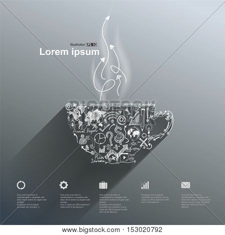 Paper coffee cup commercial illustration,business concept illustration design.