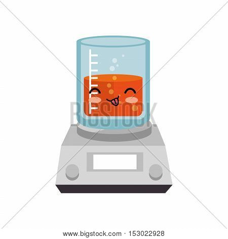 kawaii beaker and electronic balance vector illustration eps 10