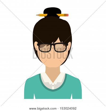 half body woman with collected hair vector illustration