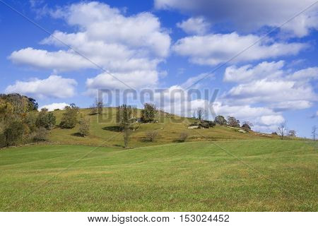 Hills of Virginia with blue sky and clouds near Amissville, VA, square banner size