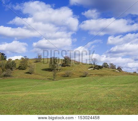 Hills of Virginia with blue sky and clouds in Amissville, Virginia