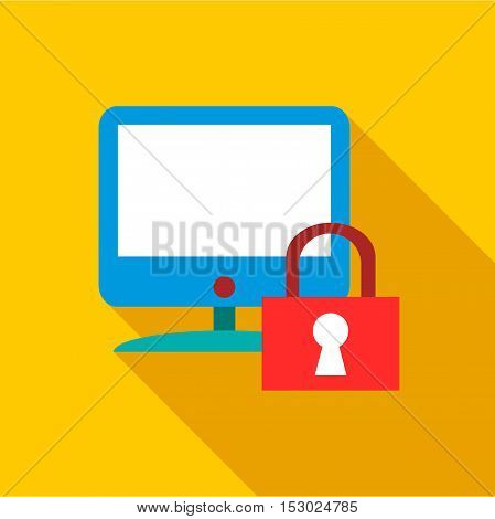 Blocked monitor icon. Flat illustration of blocked monitor vector icon for web