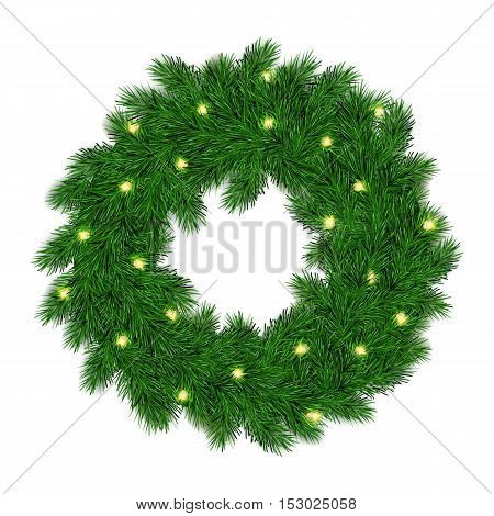 vector illustration of isolated realistic christmas fir-tree wreath with shiny bulb garland.