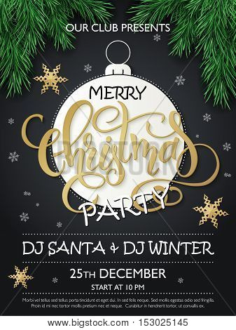 Vector christmas party poster with fir-tree branches, lettering greetings word - christmas on big paper christmas ornament with golden stars and snowflakes.