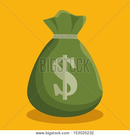 cartoon green bag money cash icon vector illustration eps 10